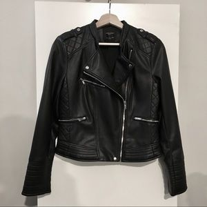 Zara Faux Leather Jacket Quilted Detail
